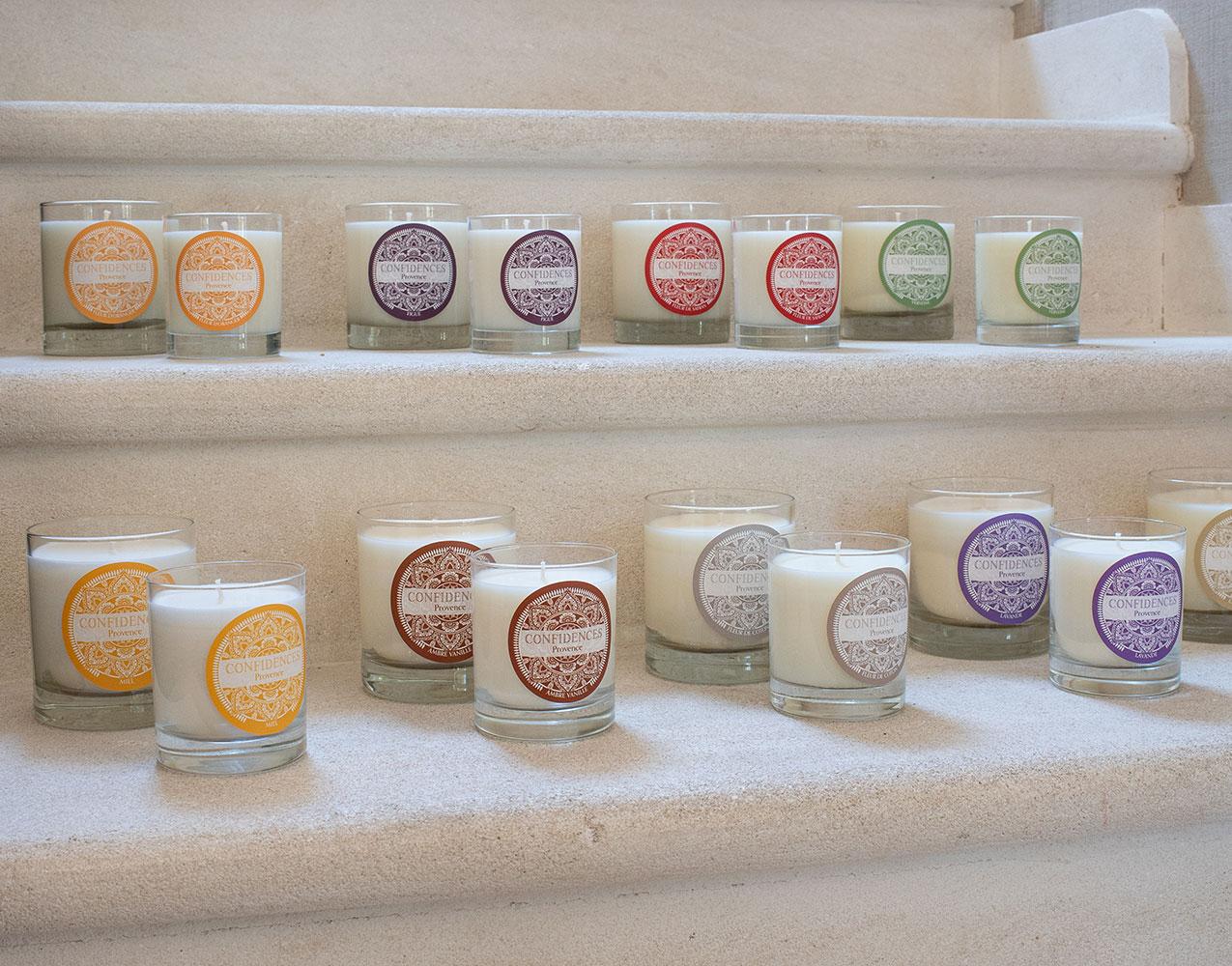 Gamme de bougies artisanales fabriquées en Provence