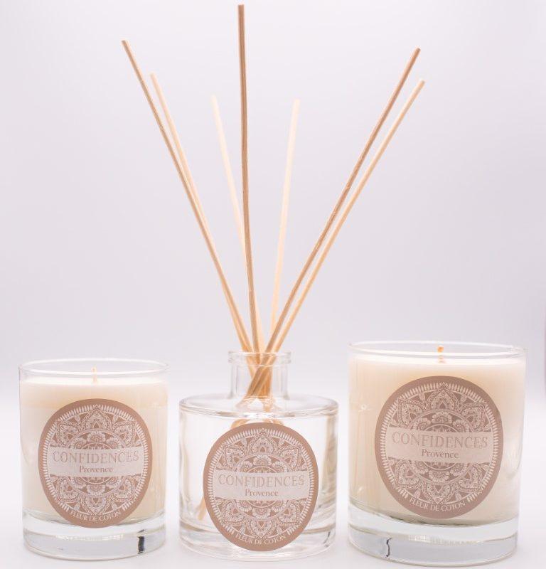 gamme de bougies et diffuseur fleur de coton