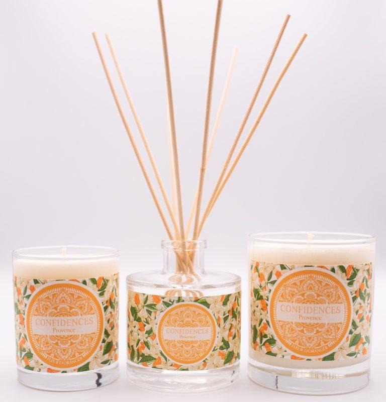 Gamme fleur d'oranger bougies 180g, 280g et diffuseur de parfum