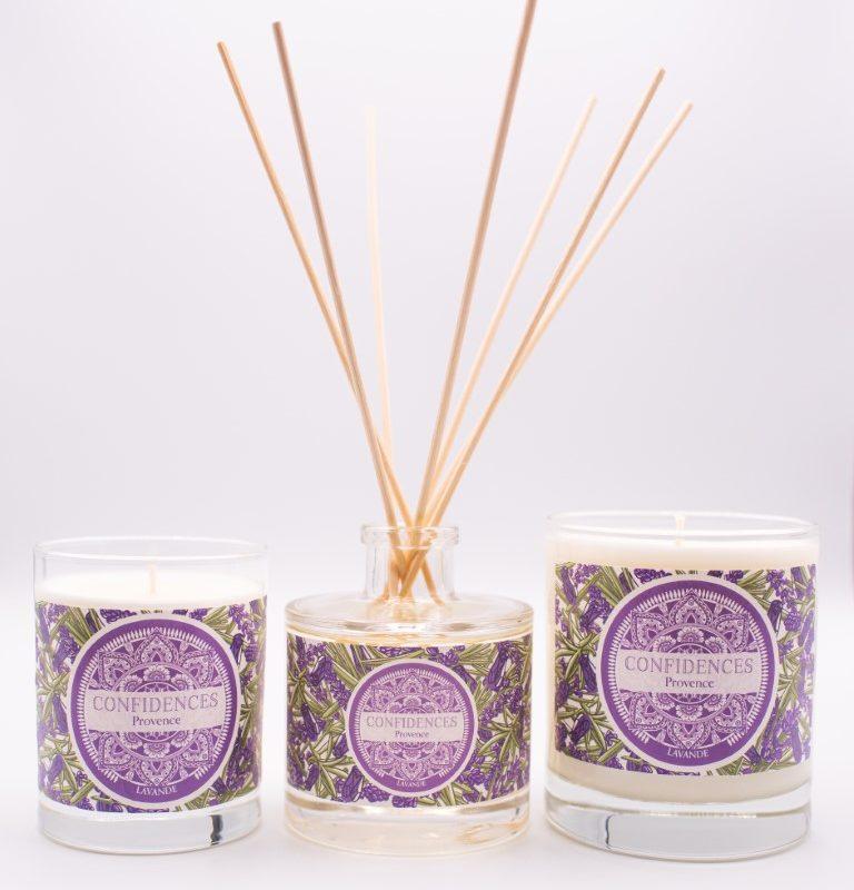 Gamme lavande bougies 180g, 280g et diffuseur de parfum
