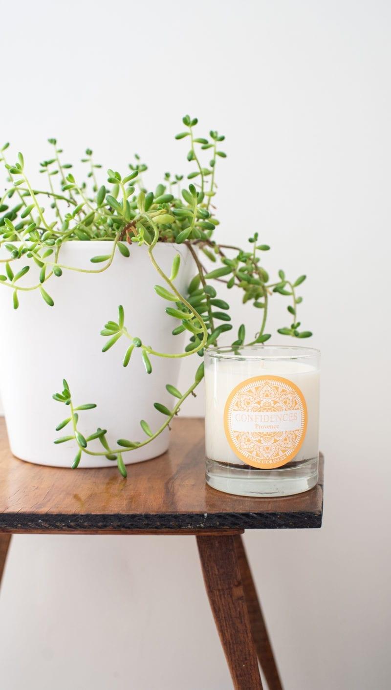plante guéridon bougie fleur d'oranger