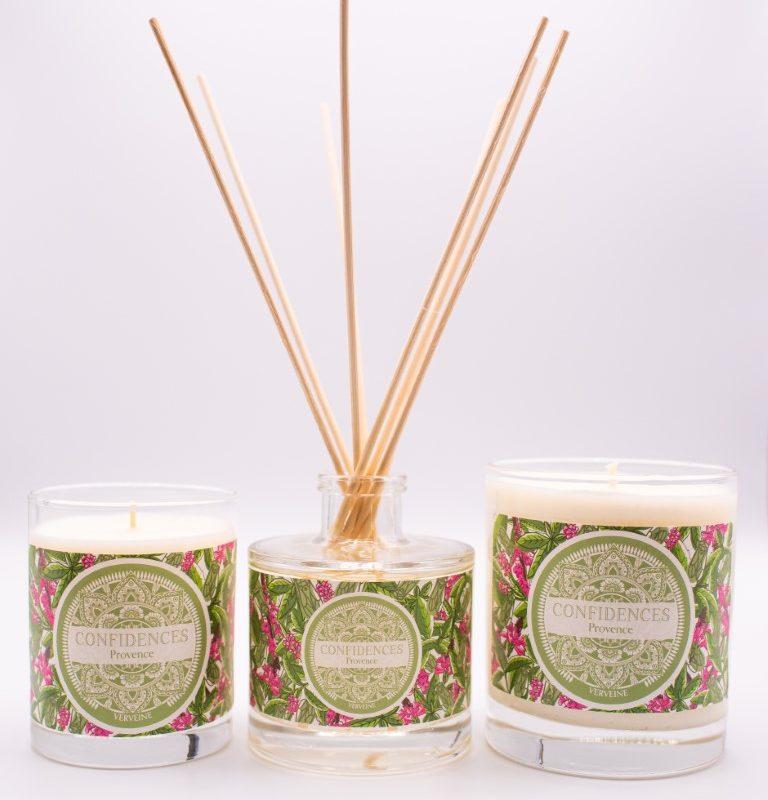 Gamme bougies verveine 180g, 280g et diffuseur de parfum
