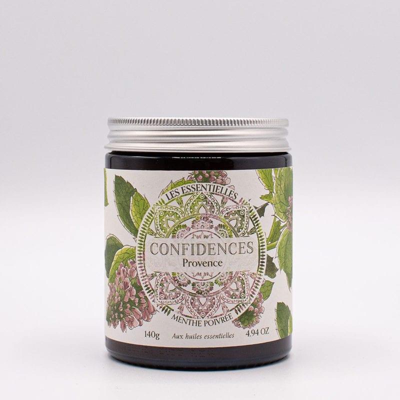 bougie parfumée huiles essentielles menthe poivrée